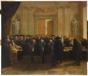 ouis XIV tenant les sceaux en présence des conseillers d'Etat et des maîtres des Requêtes, Versailles, châteaux de Versailles et de Trianon.(C) RMN-Grand Palais (Château de Versailles) / Franck Raux