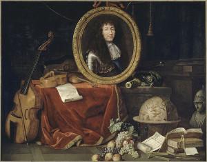 Jean Garnier, Allégorie à Louis XIV, protecteur des Arts et des Sciences, 1660-1672, huiole sur toile, 1740 x 2,3 m. Versailles, Musée du château de Versailles et de Trianon, MV 2184.