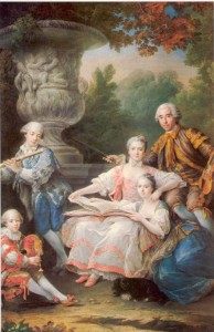 La famille de Sourches ou Concert champêtre. François-Hubert Drouais, 1756. Huile sur toile. Château de Versailles (MV8106). © Château de Versailles / Jean-Marc Manaï